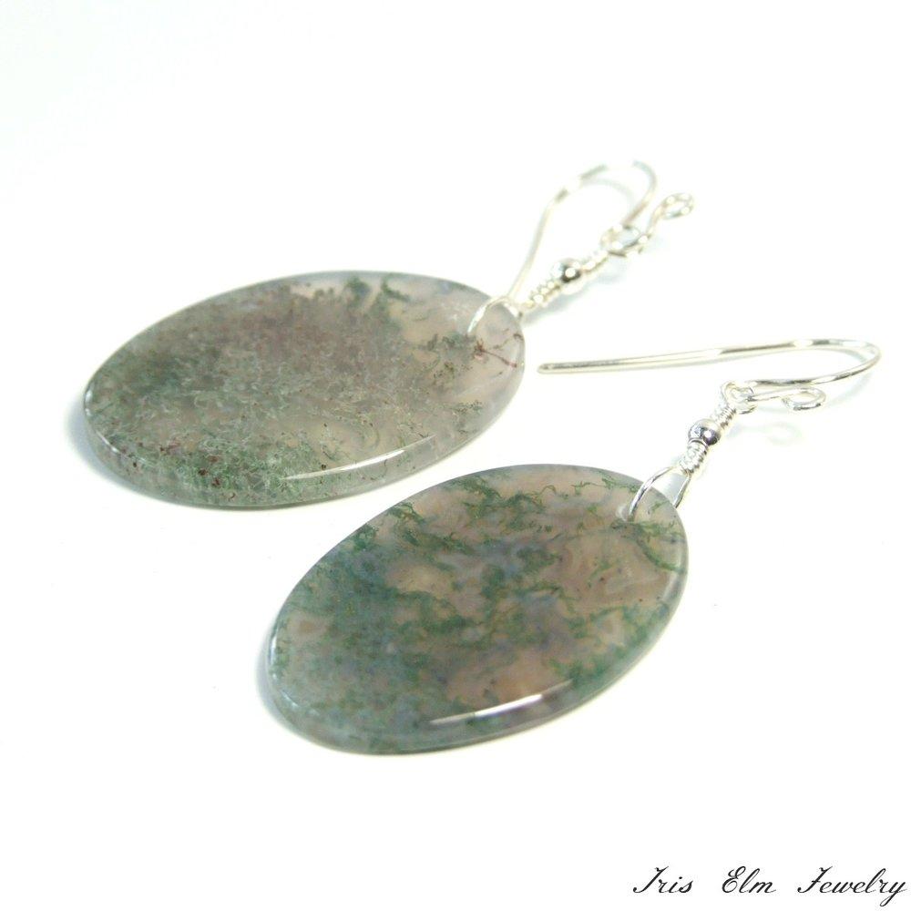 Oval Moss Agate Dangle Earrings