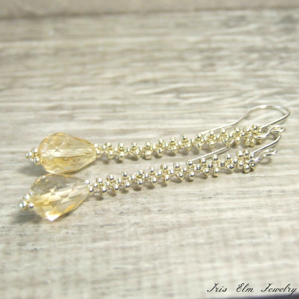 Citrine Teardrop Dangle Earrings