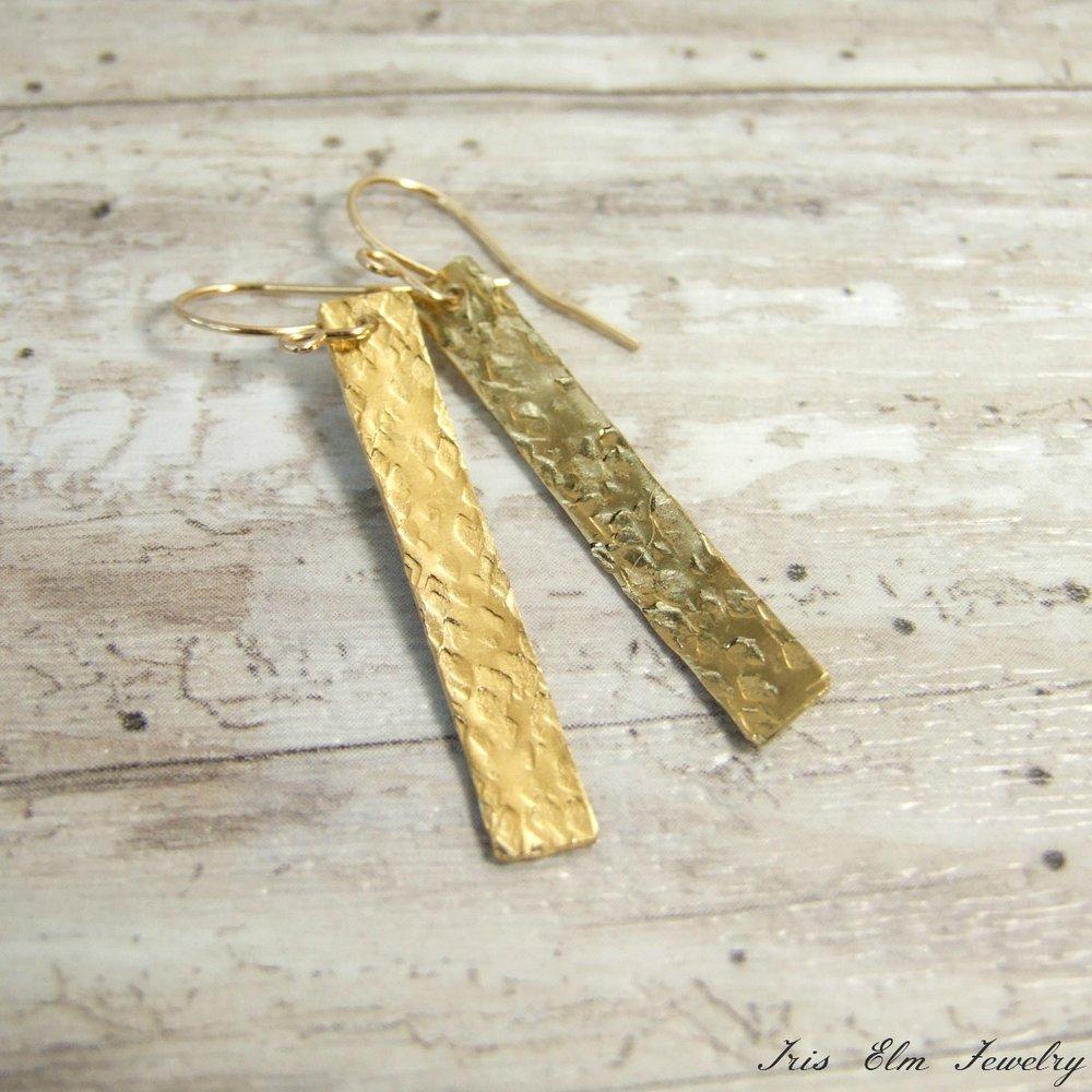 Hammered Brass Gold Bar Dangle Earrings