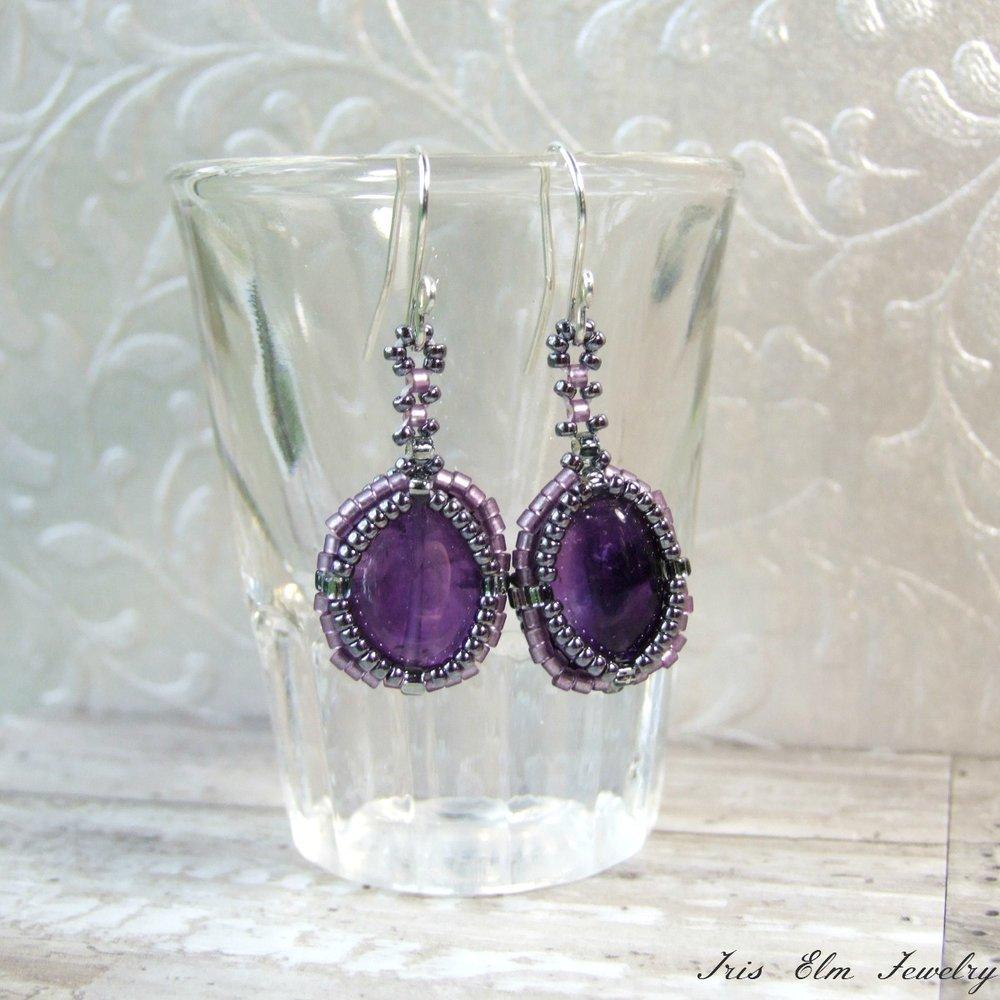 Dark Purple Amethyst Drop Earrings