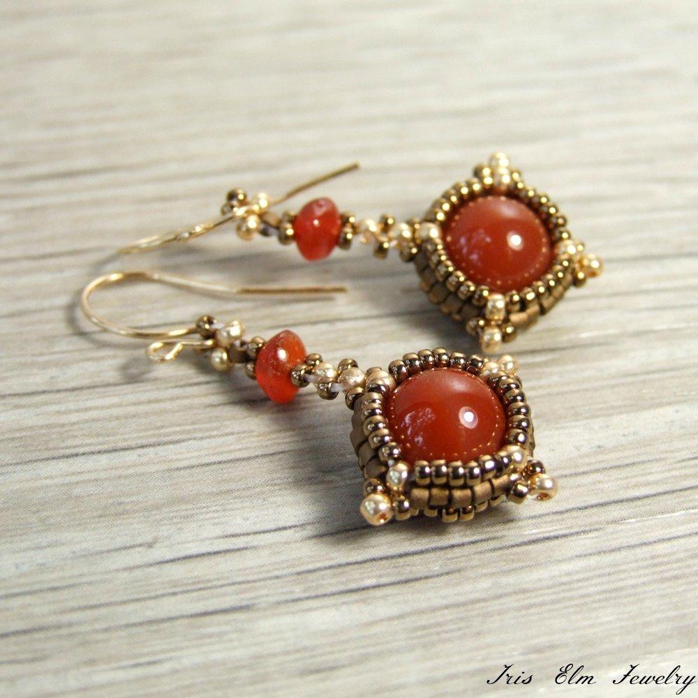 Carnelian Beaded Drop Earrings