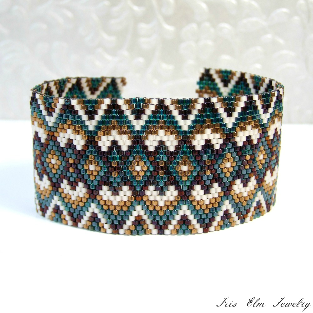 Brown & Green Geometric Cuff Seed Bead Bracelet