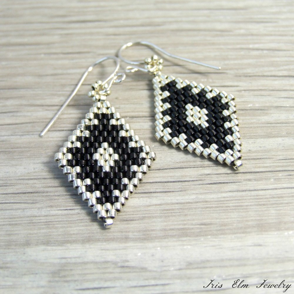 Silver & Black Diamond Bead Earrings