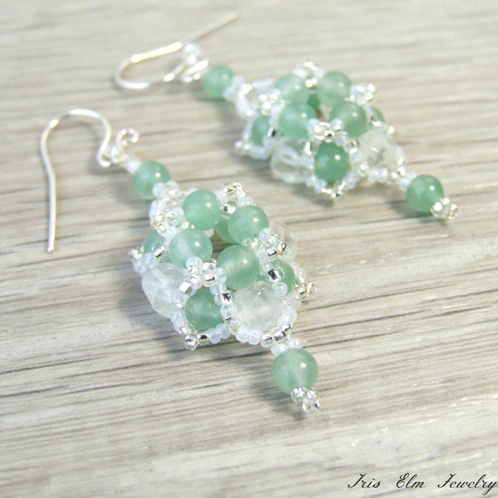 Mint Green Aventurine & Snow Quartz Earrings