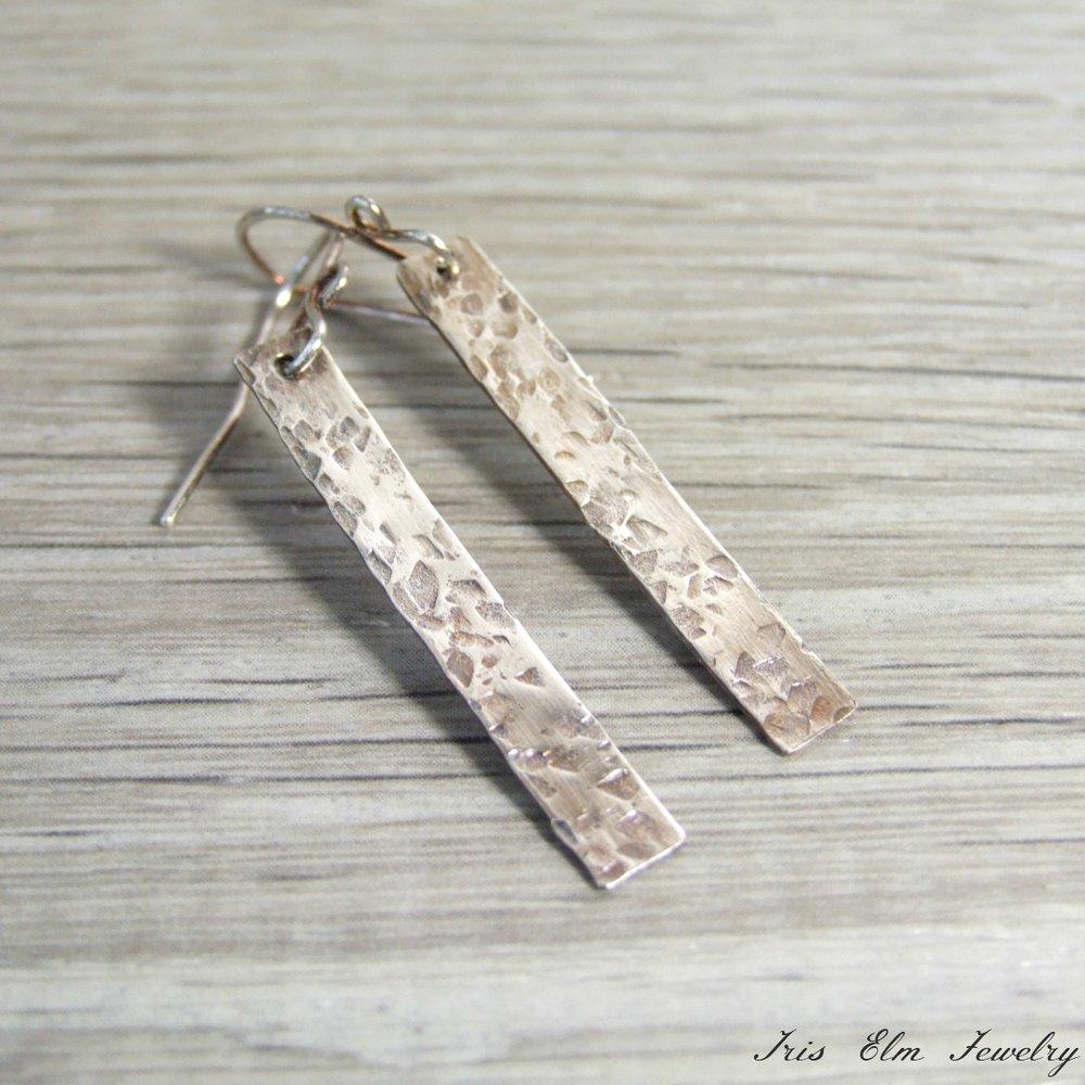 Hammered Sterling Silver Bar Minimalist Earrings