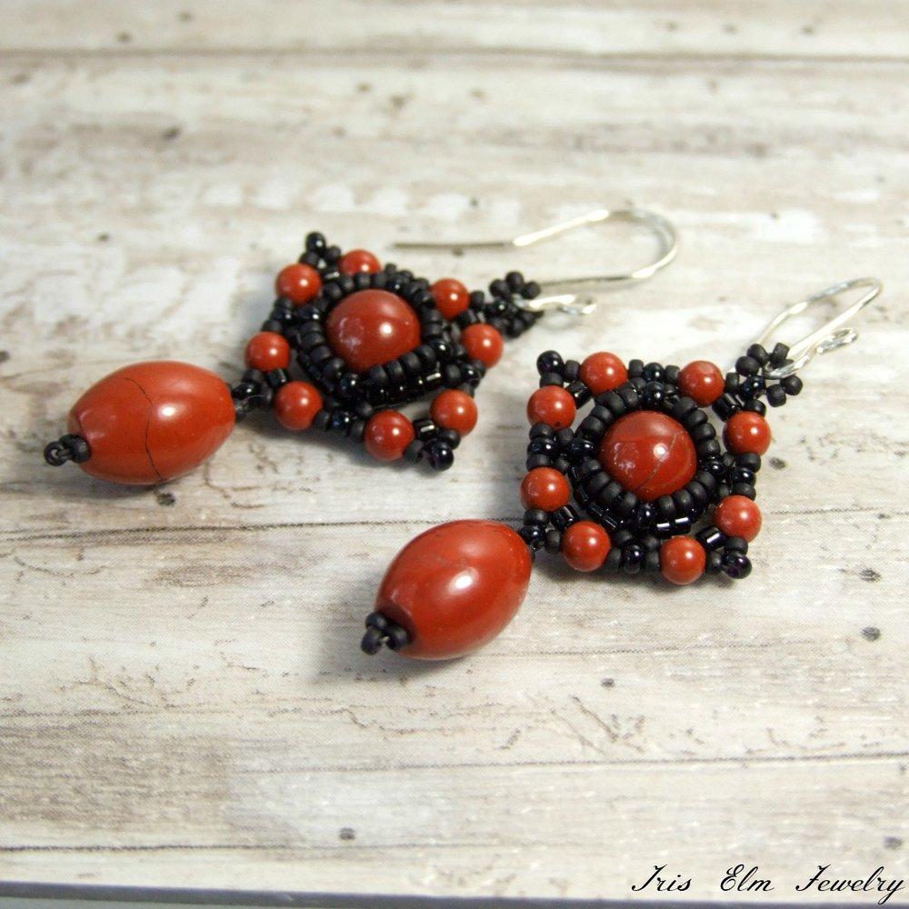 Unique Red Jasper Beadwork Earrings
