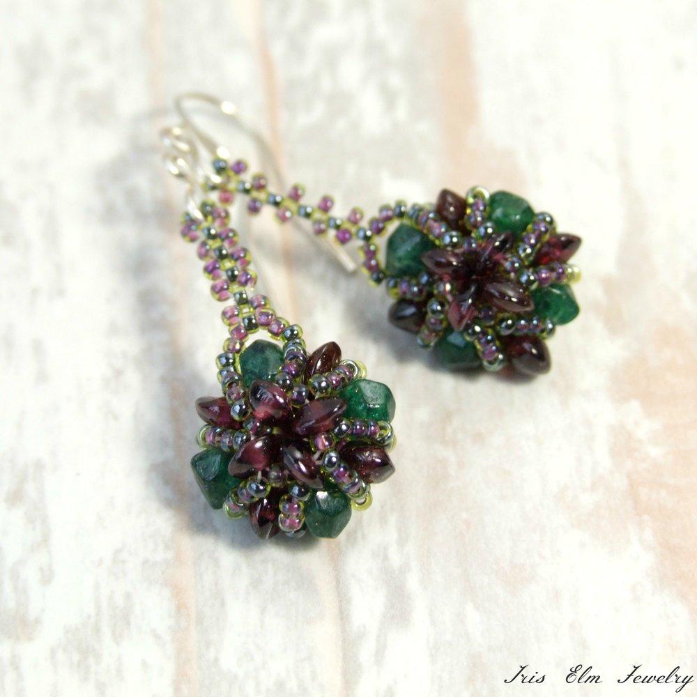 Garnet & Green Aventurine Bauble Earrings