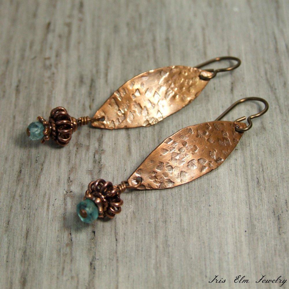 Blue Apatite Hammered Copper Marquise Dangle Boho Earrings