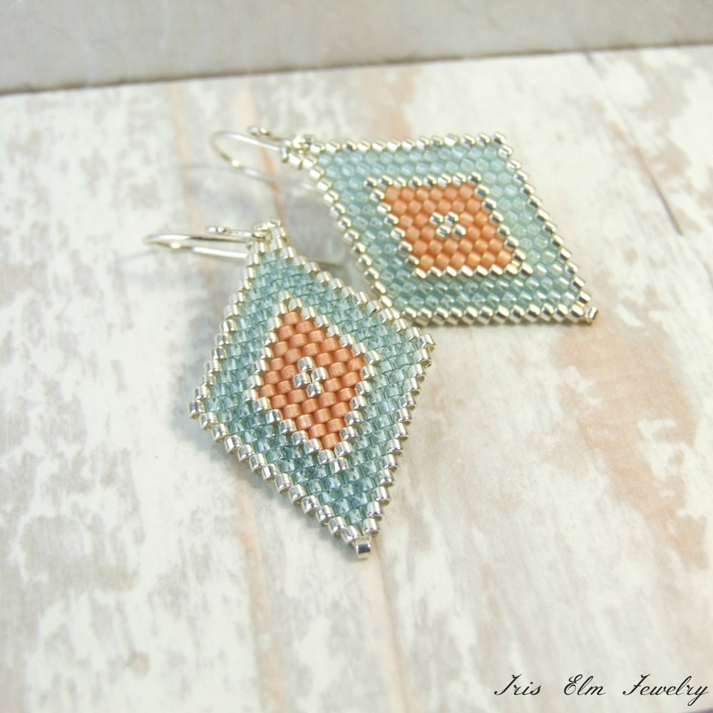 Aqua & Peach Diamond Seed Bead Earrings