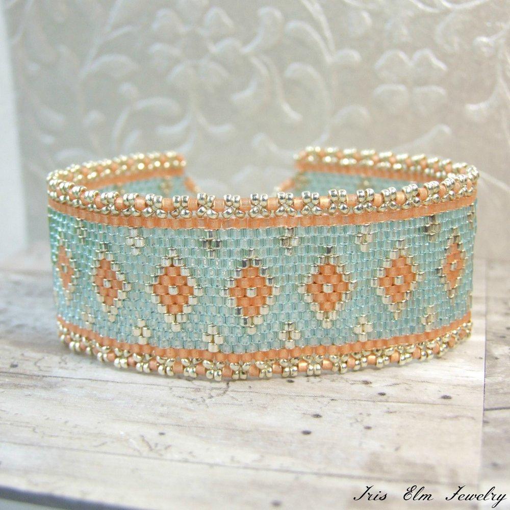 Peach & Aqua Seed Bead Bracelet