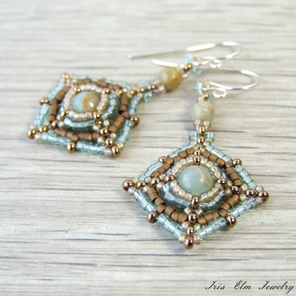 Aqua Terra Jasper Beadwork Earrings