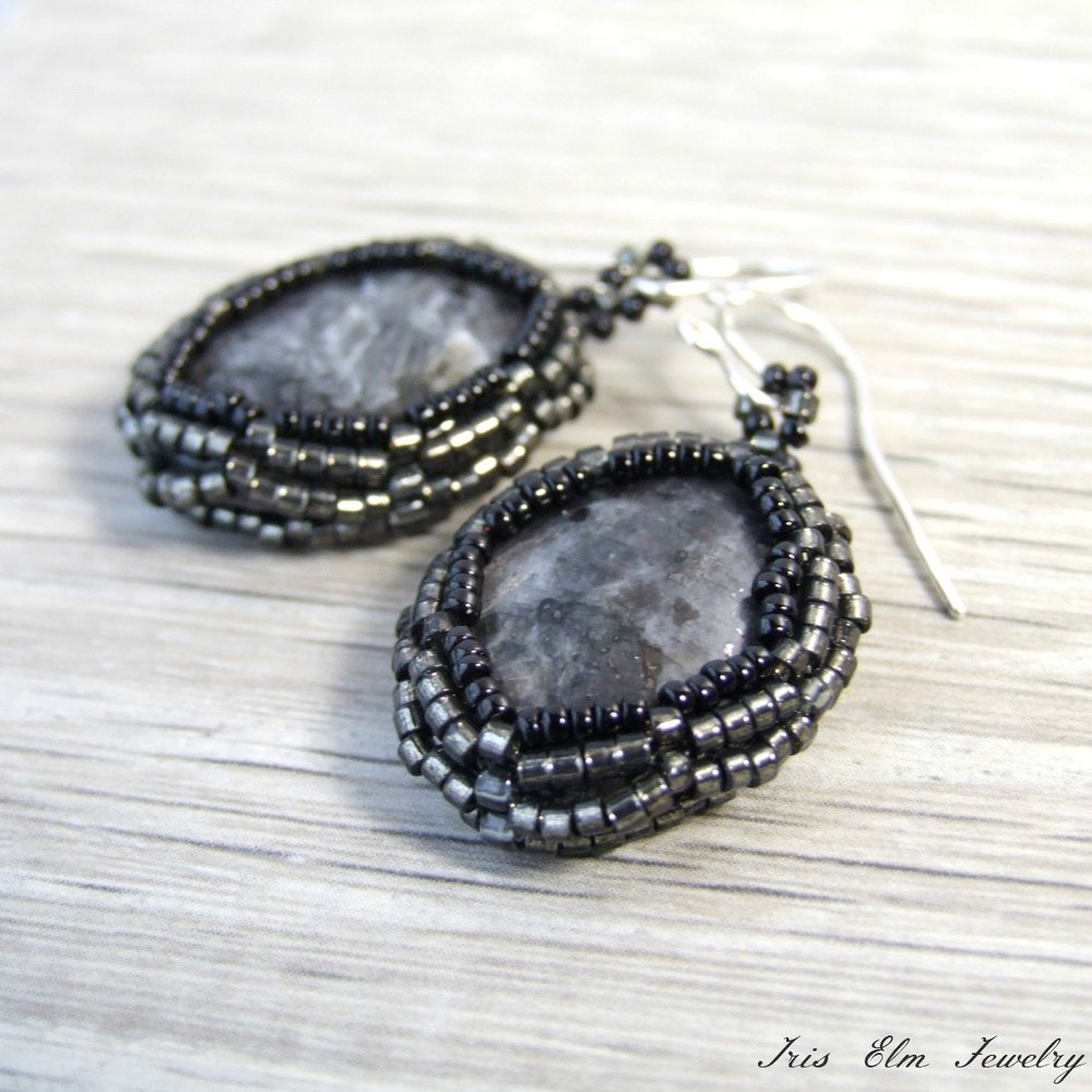 Oval Larvikite Beadwoven Earrings