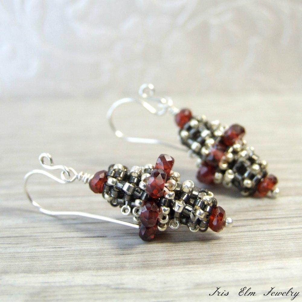 Garnet Victorian Beadwork Earrings