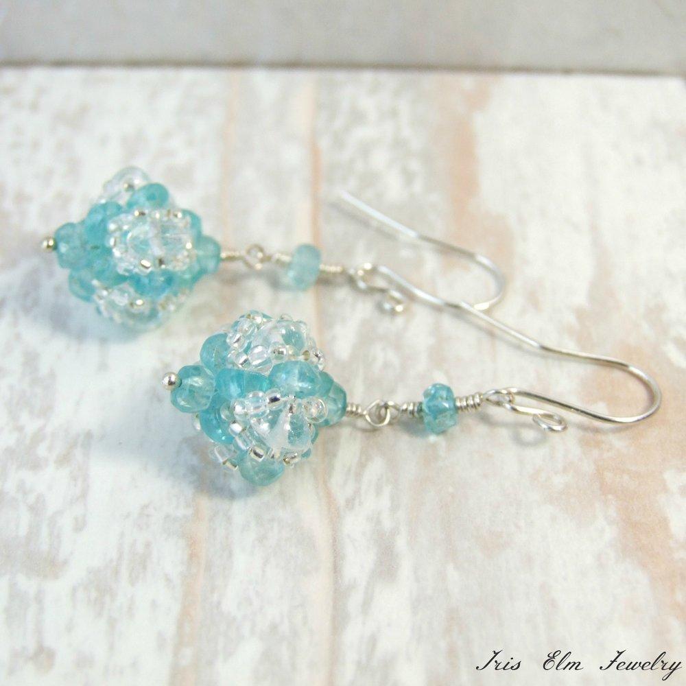 Blue Apatite & Crystal Bauble Dangle Earrings