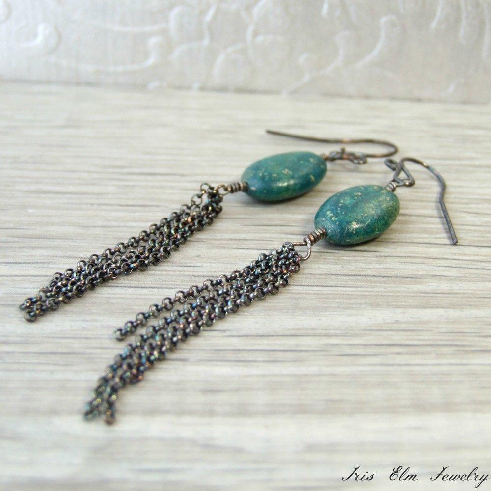 Oxidized Silver Turquoise Tassel Earrings