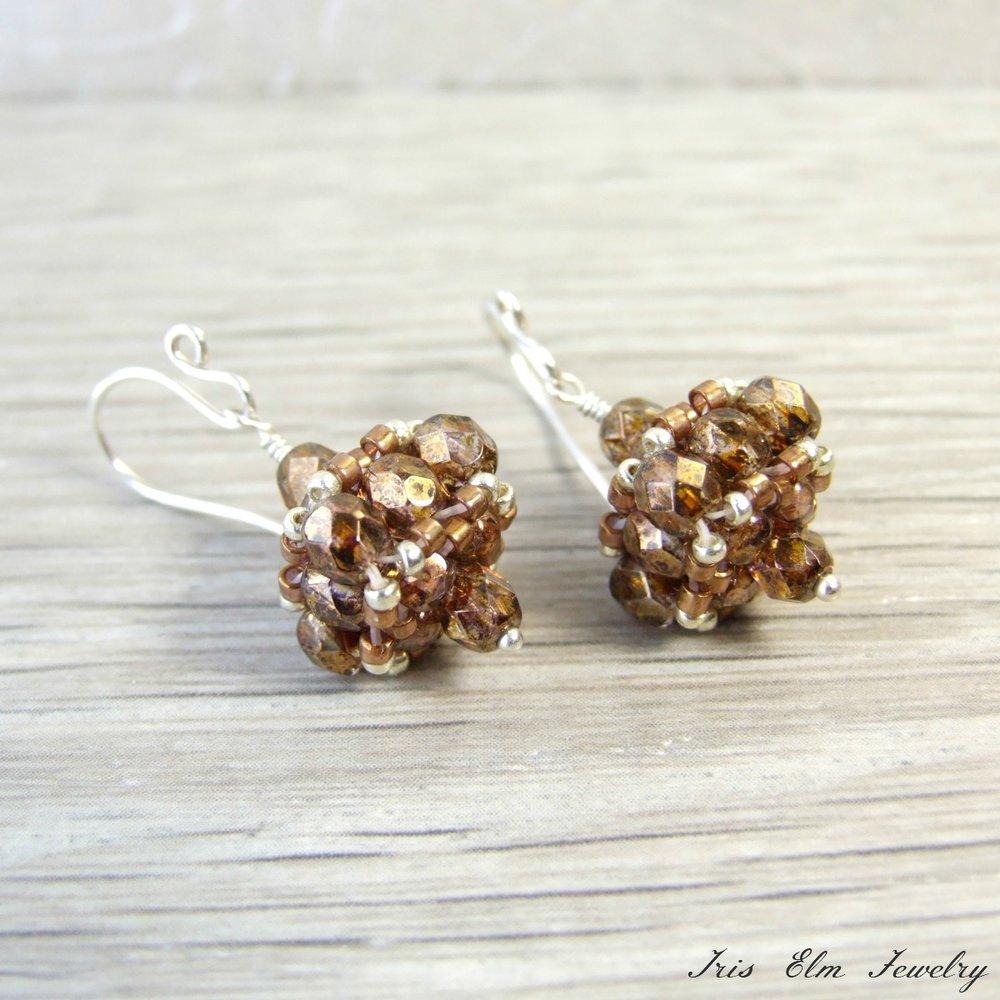 Brown Czech Glass Vintage Style Earrings