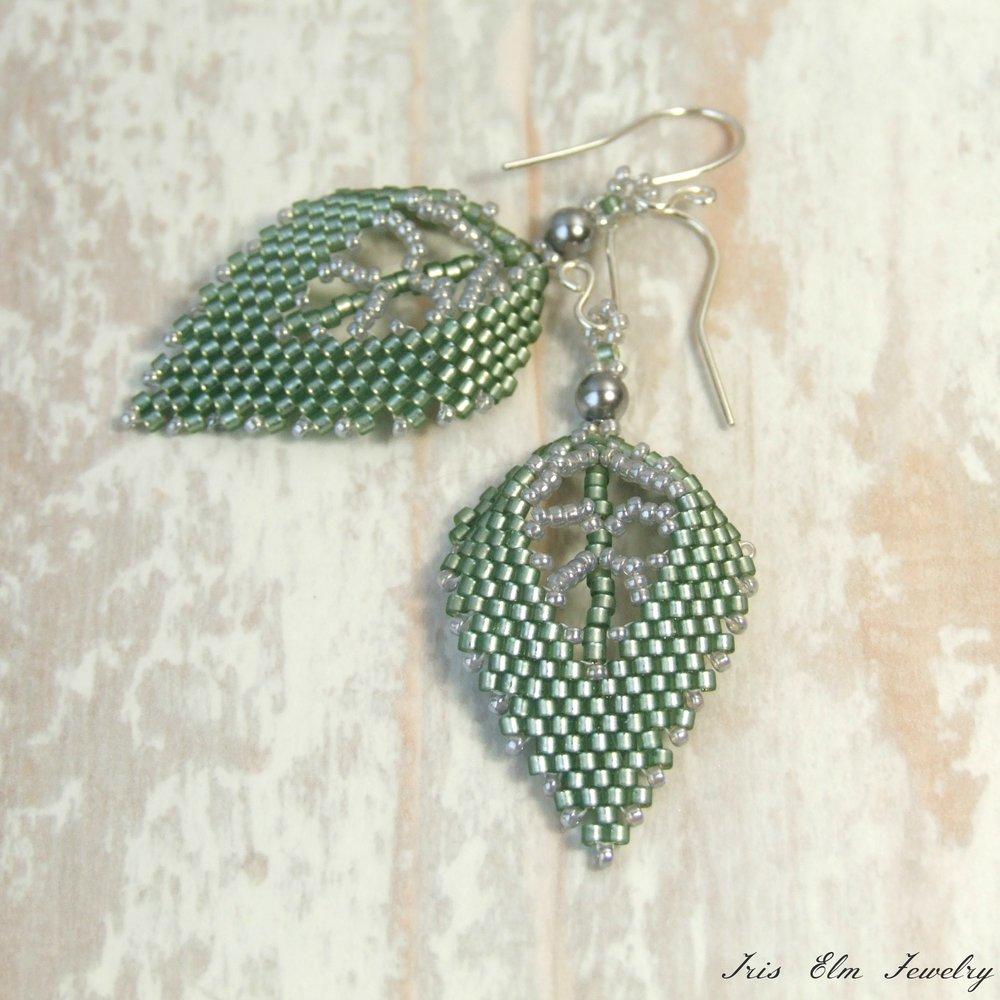 Sage Green Glass & Pearl Leaf Earrings