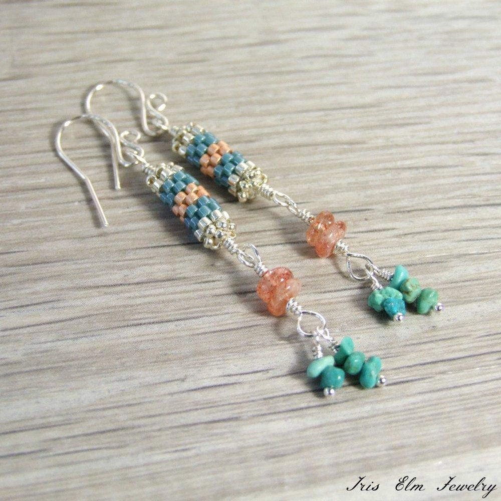 Handmade Genuine Turquoise & Sunstone Bohemian Beaded Dangle Earrings