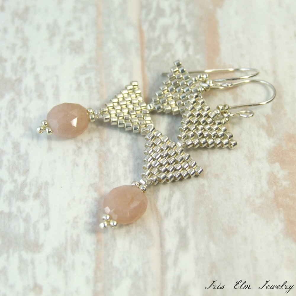 Peach Moonstone Triangle Earrings