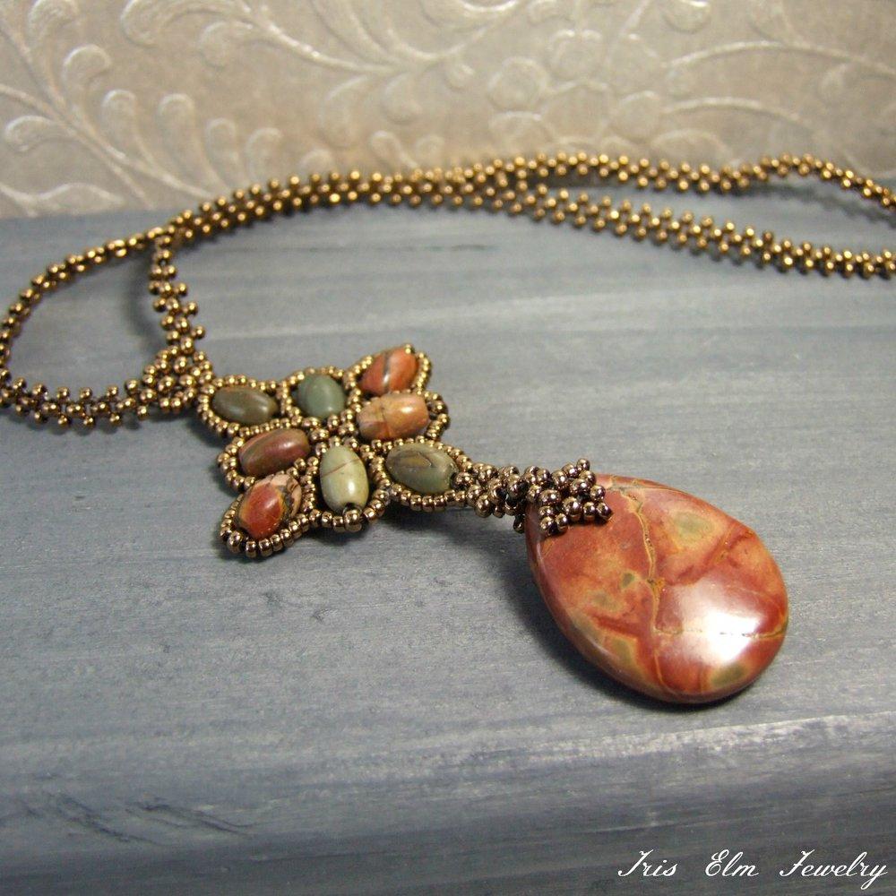 Red Creek Jasper Beadwork Pendant Necklace
