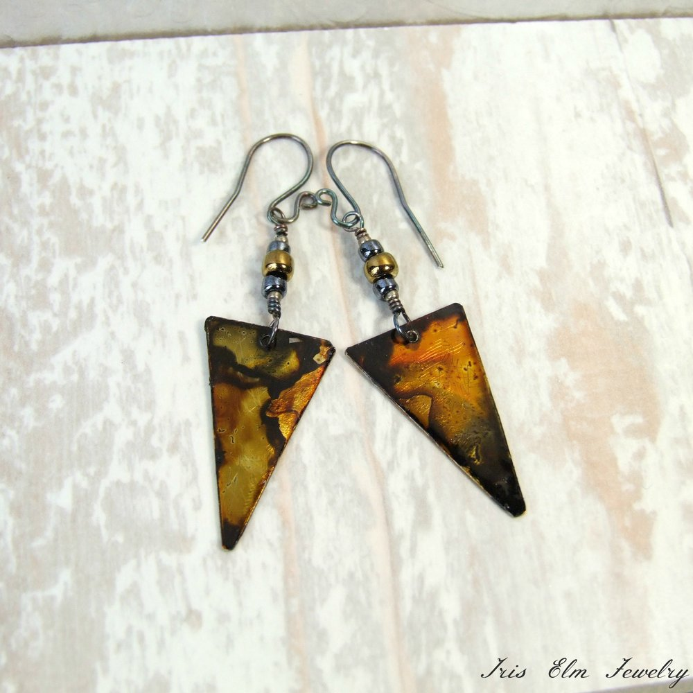 Boho Dyed Metal Triangle Dangle Earrings