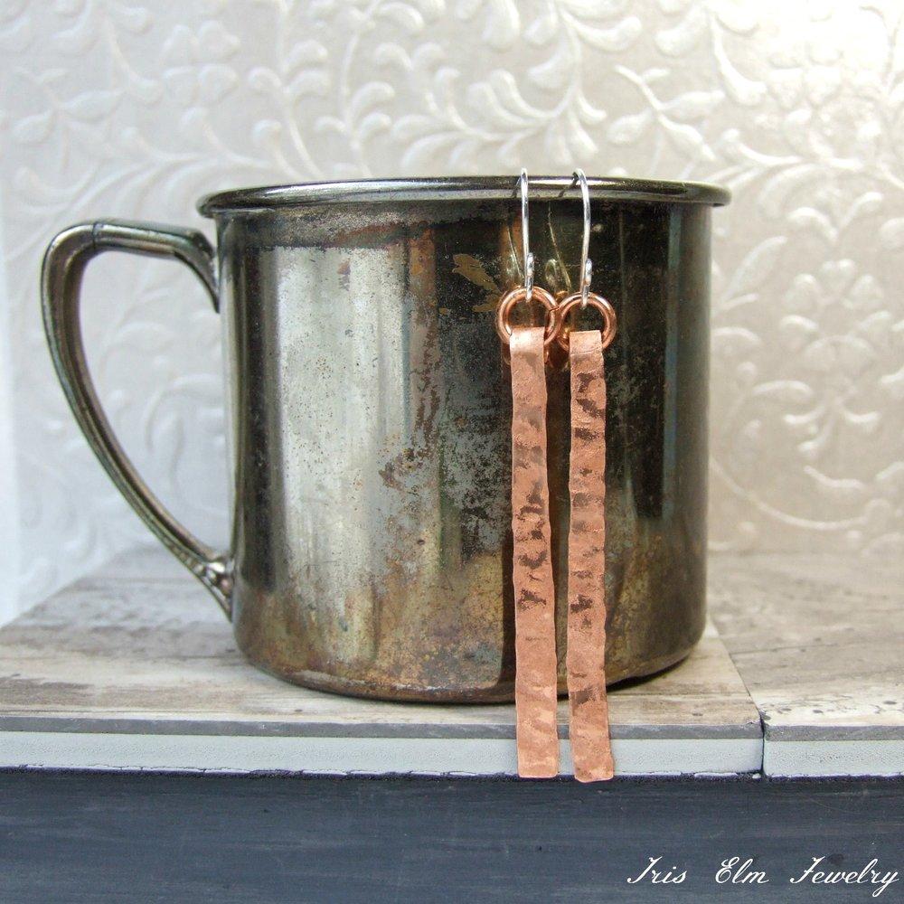 Modern Linear Copper Earrings