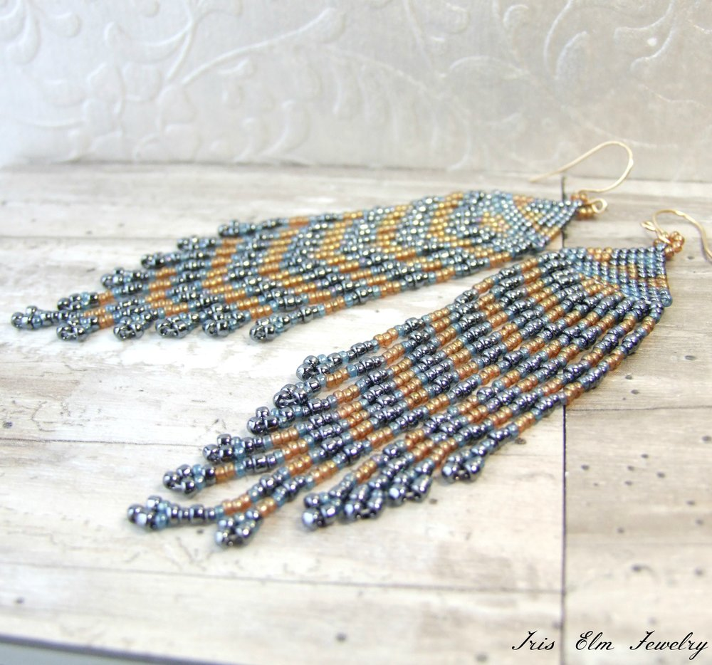 Blue & Golden Seed Bead Fringe Earrings