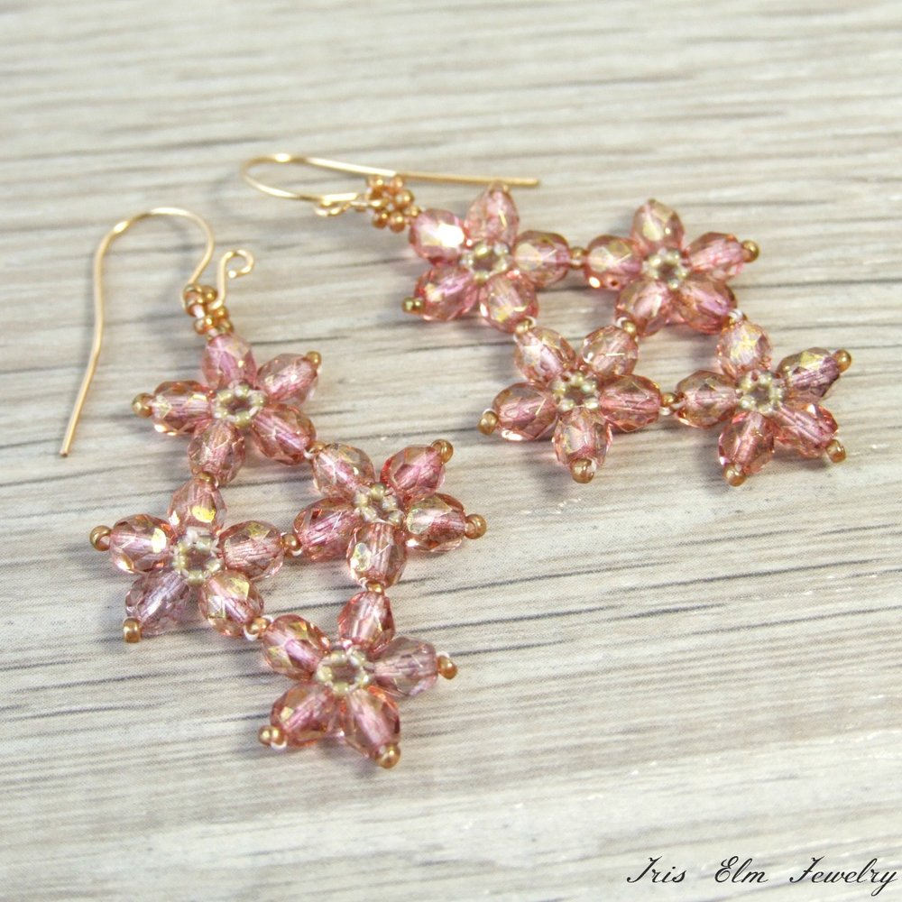 Pink Czech Glass Flower Earrings