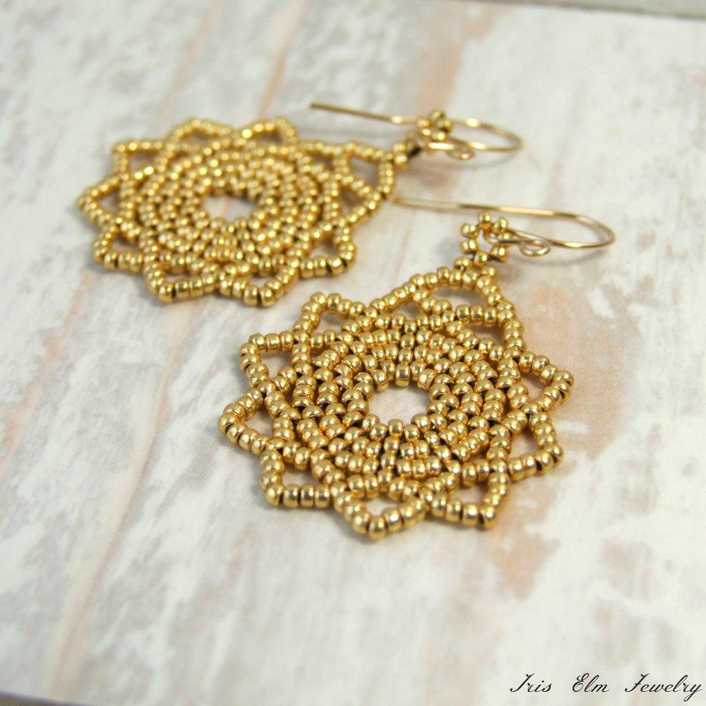 Gold Mandala Earrings