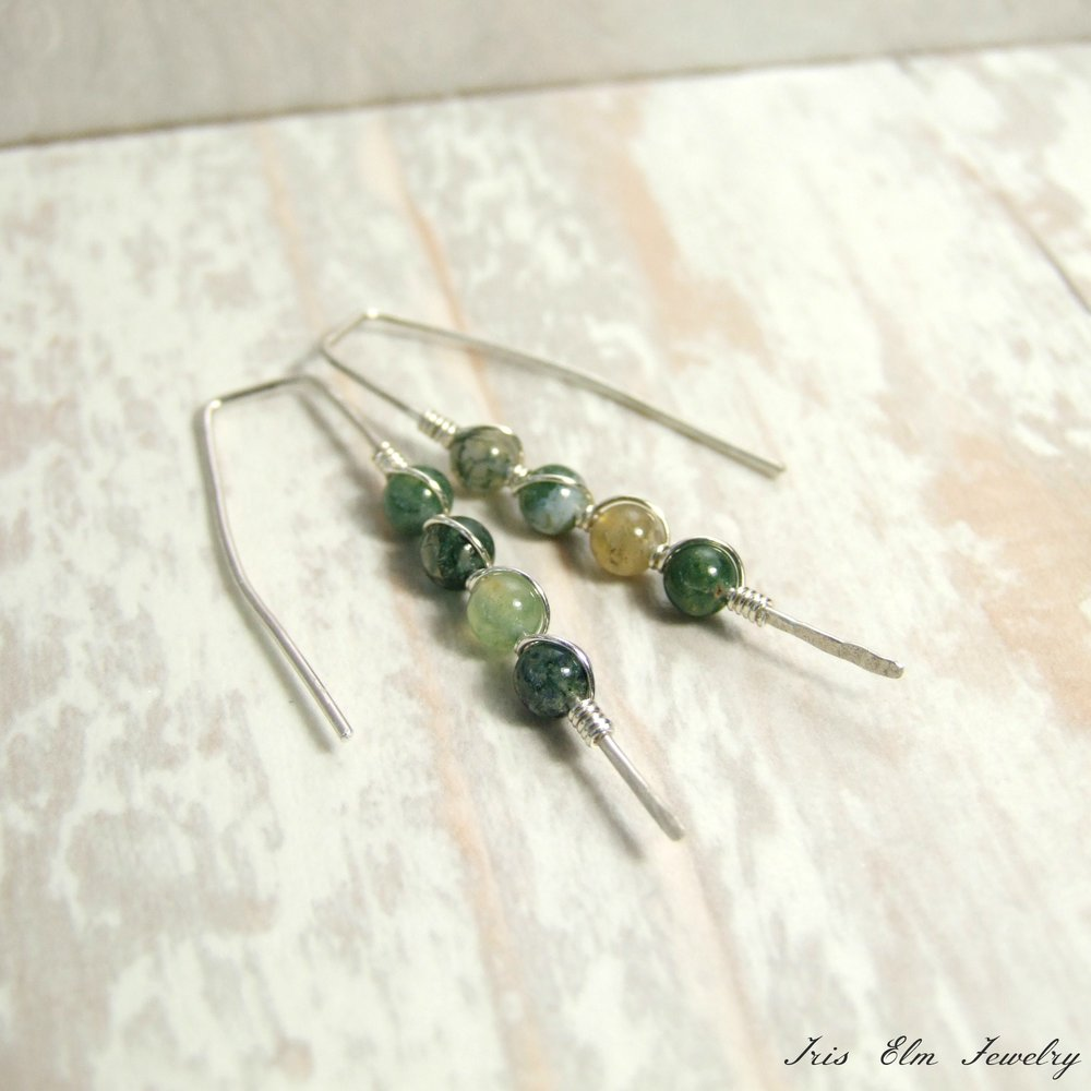 Handcrafted Green Agate Sterling Minimalist Threader Earrings
