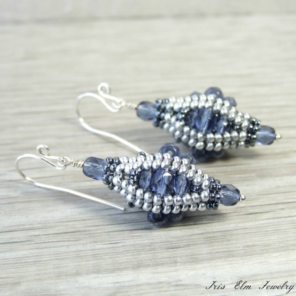 Blue Czech Glass Beadwork Earrings