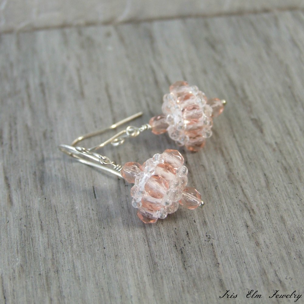 Pale Pink Czech Glass Sterling Silver Earrings
