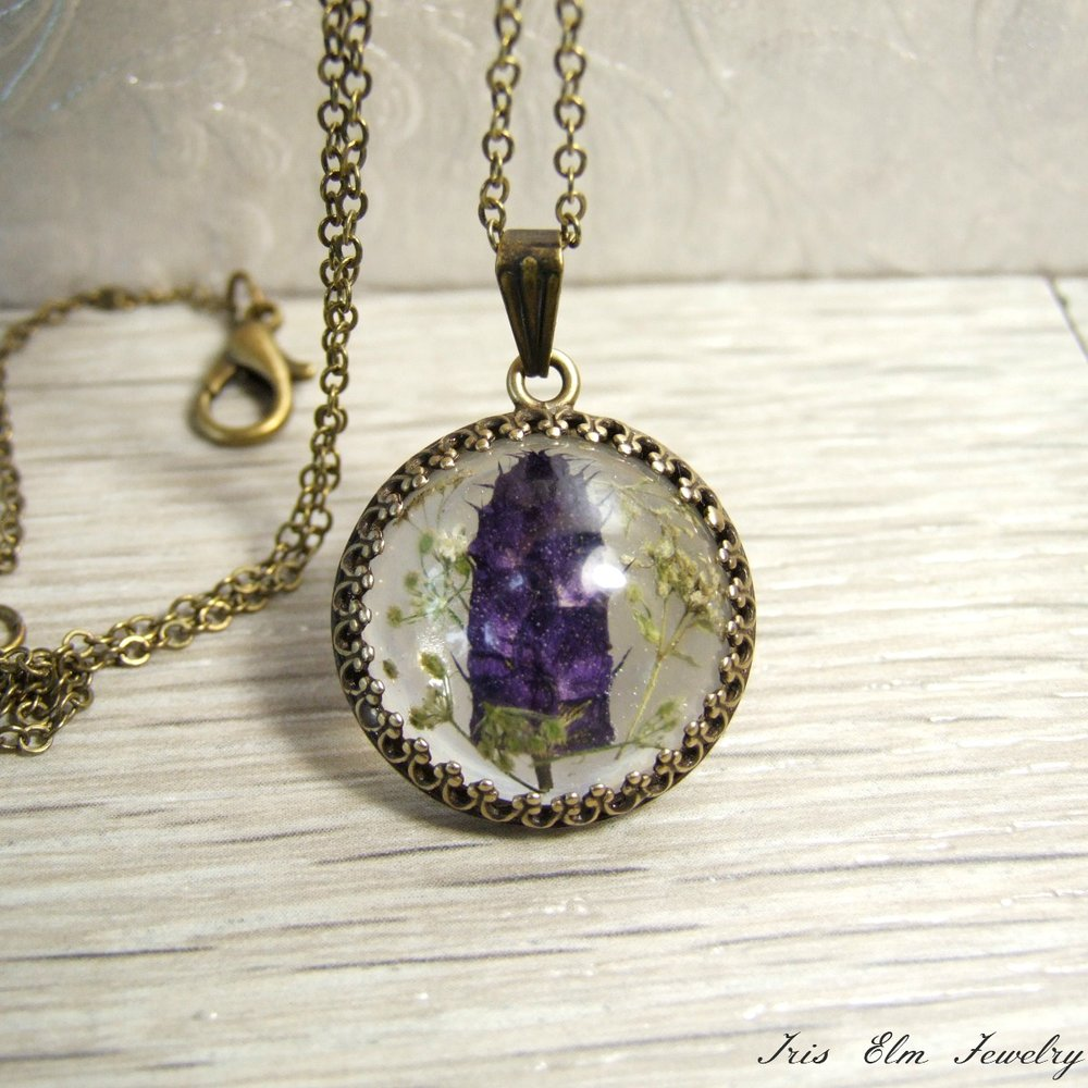 Small Dark Purple Real Flower Necklace
