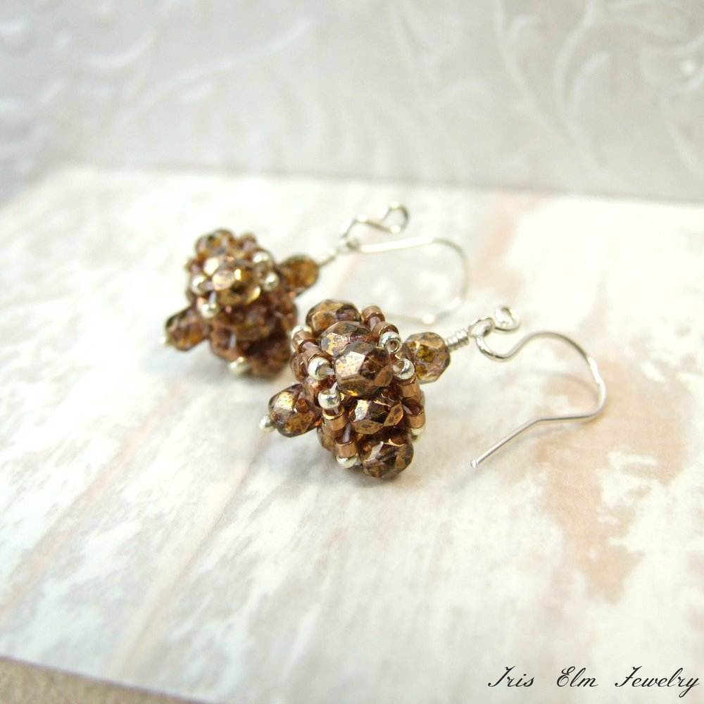 Brown Czech Glass Vintage Style Earrings
