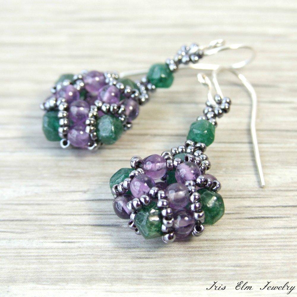 Purple Amethyst & Emerald Green Aventurine Earrings