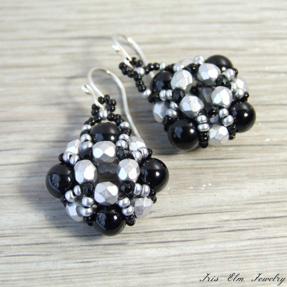 Silver Glass & Black Onyx Gemstone Earrings