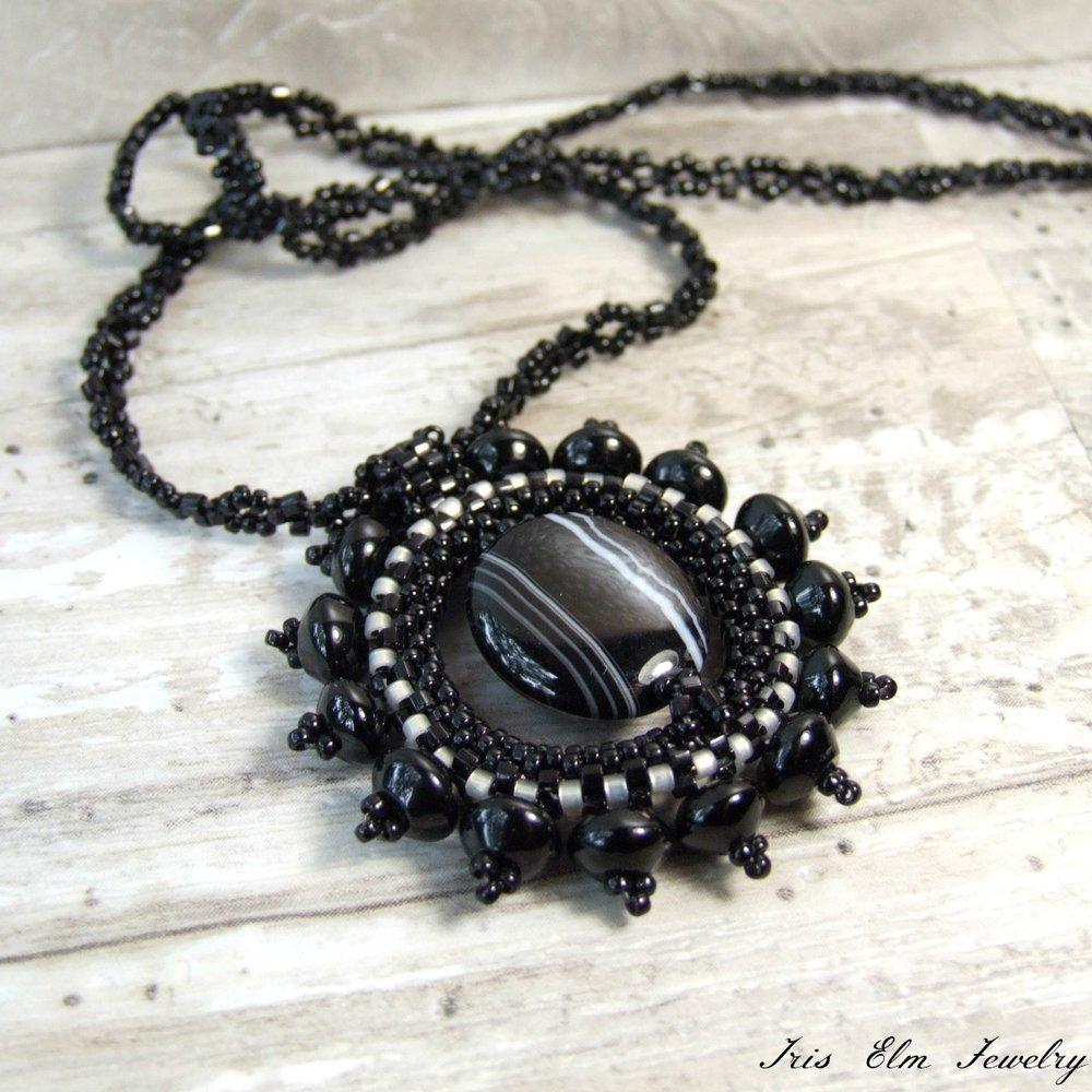 Black Agate Sunburst Pendant Necklace