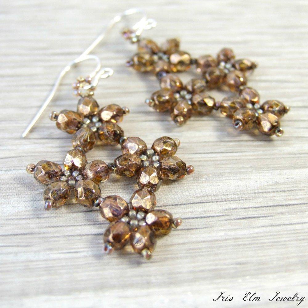 Brown Czech Glass Flower Earrings