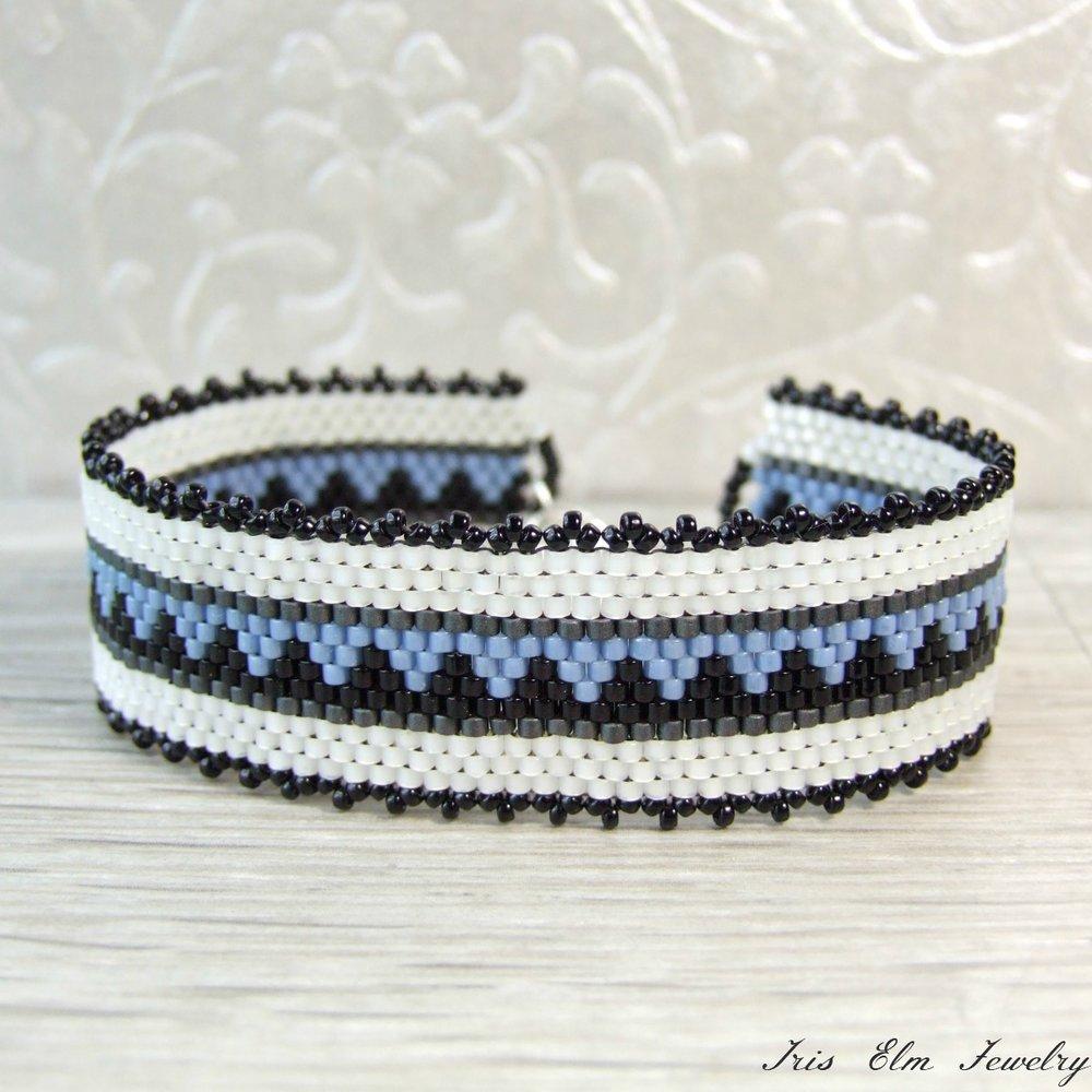 Geometric Blue, White, & Black Woven Bracelet