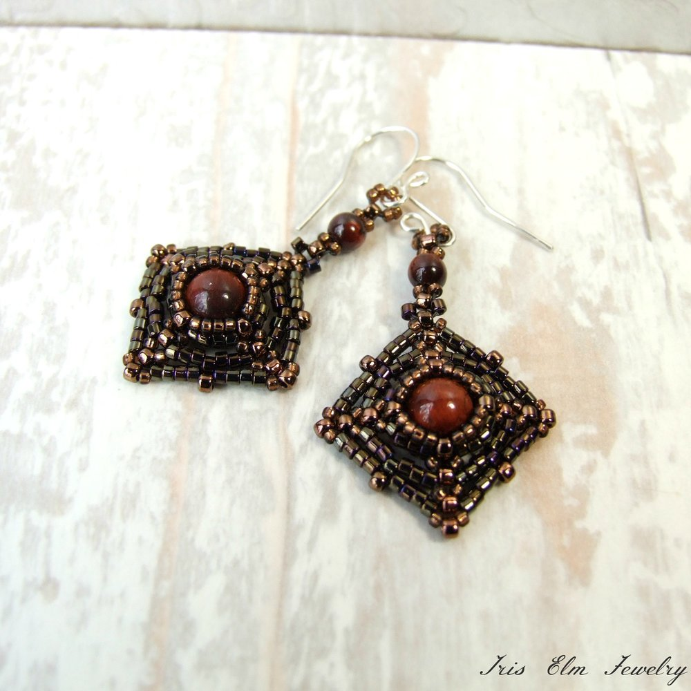 Red Tiger Eye Beaded Earrings