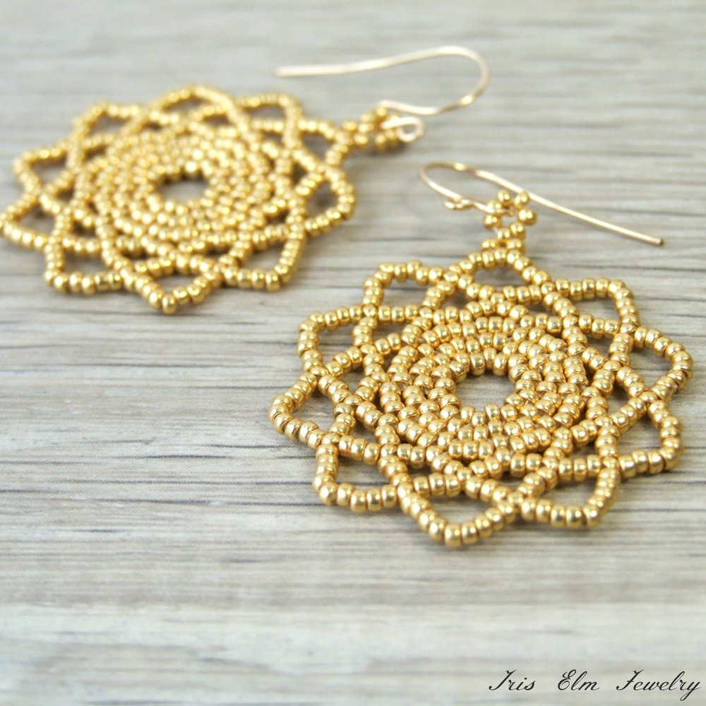 Bohemian Glass Beadwoven Mandala Earrings in Gold or Silver