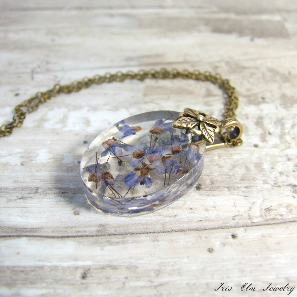 Oval Boho Real Dried Flower Pendant Necklace