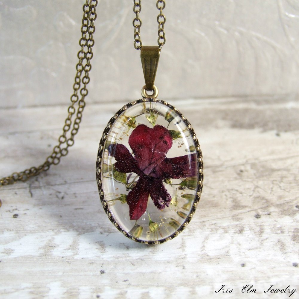 Dark Pink Real Pressed Flower Necklace