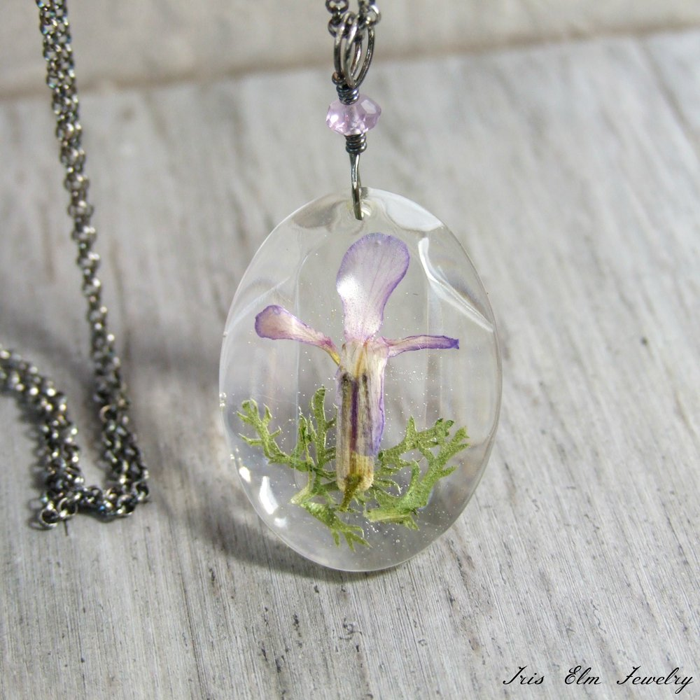 Purple Dame's Rocket Real Wildflower Sterling & Amethyst Necklace