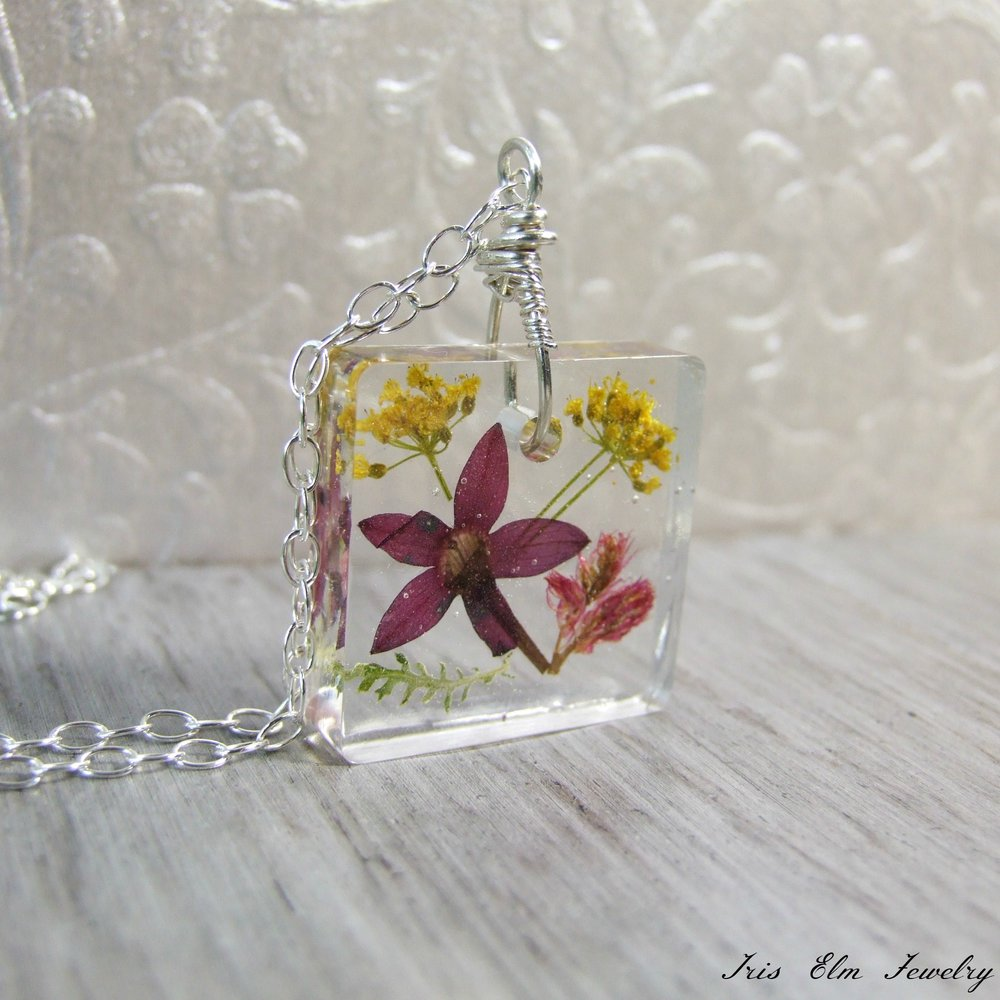 Square Resin Unique Real Flower Sterling Silver Pendant Necklace
