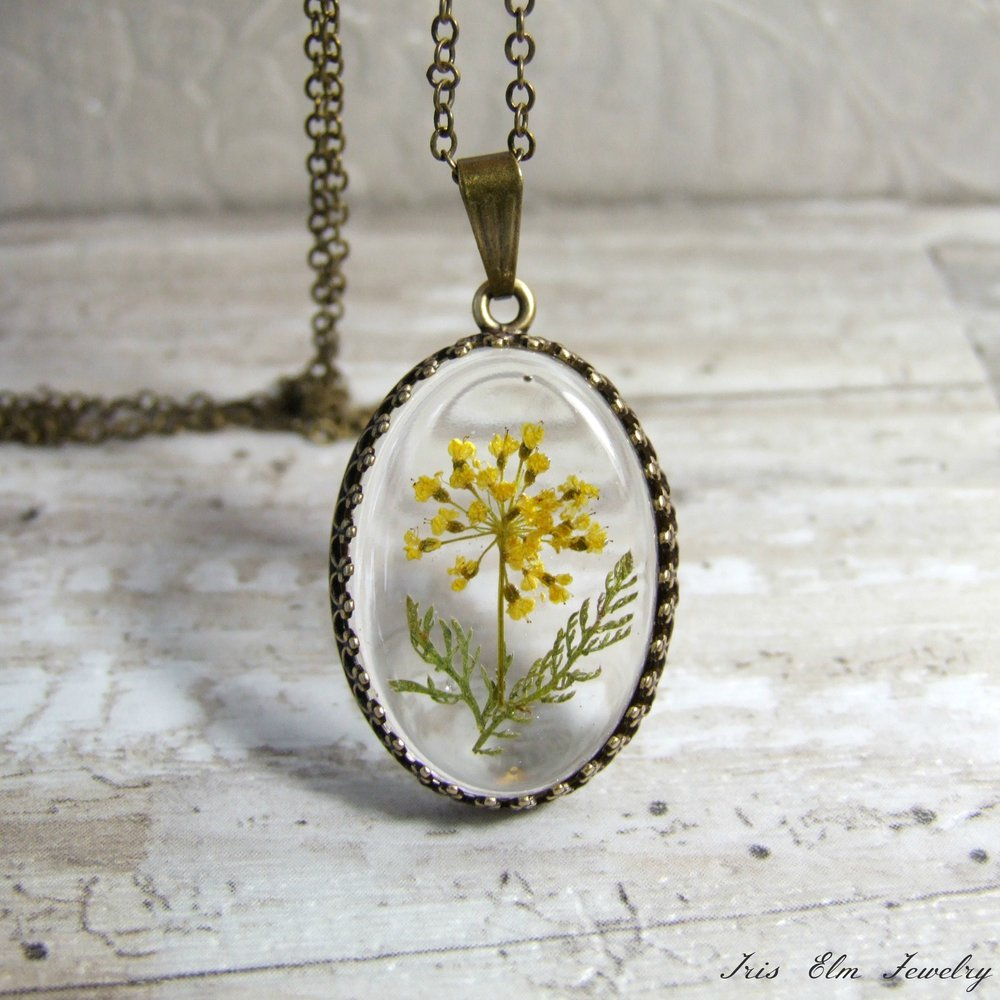 Antiqued Brass Yellow Yarrow Pressed Wildflower Necklace