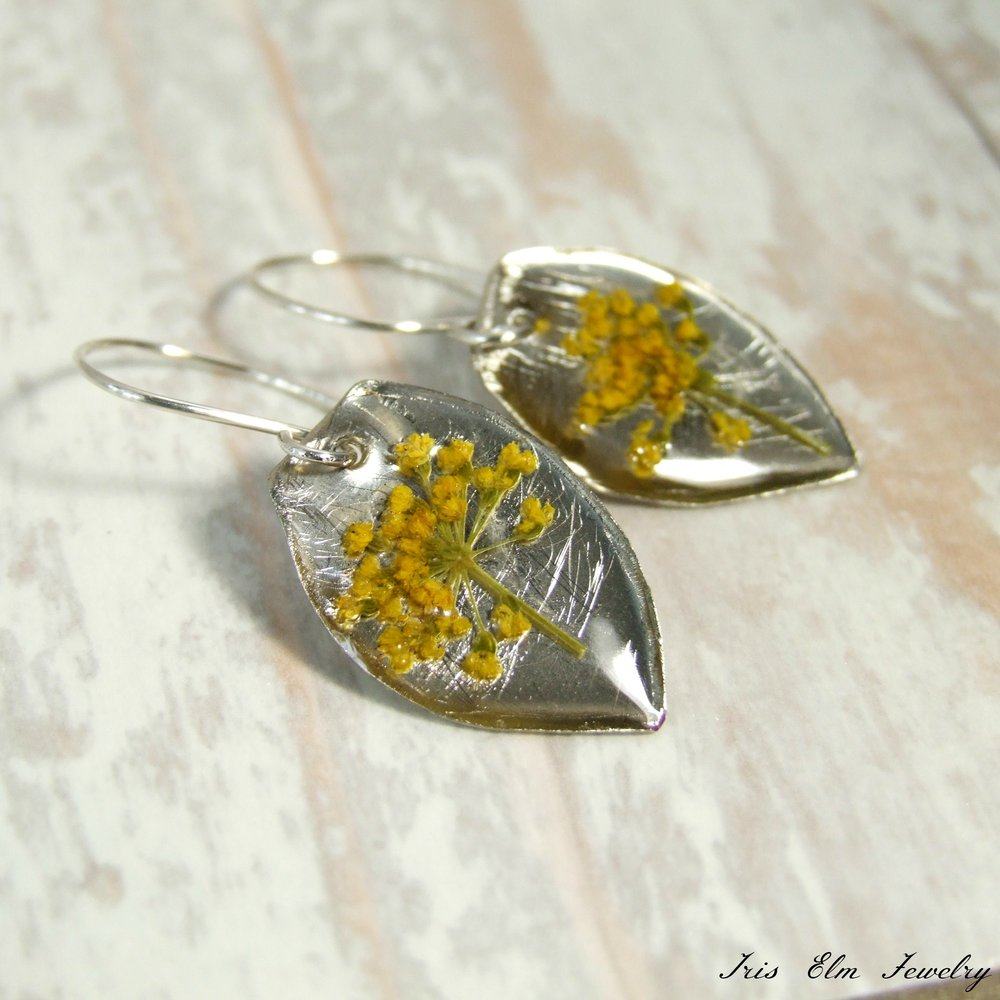Yellow Yarrow Real Pressed Wildflower Bohemian Earrings