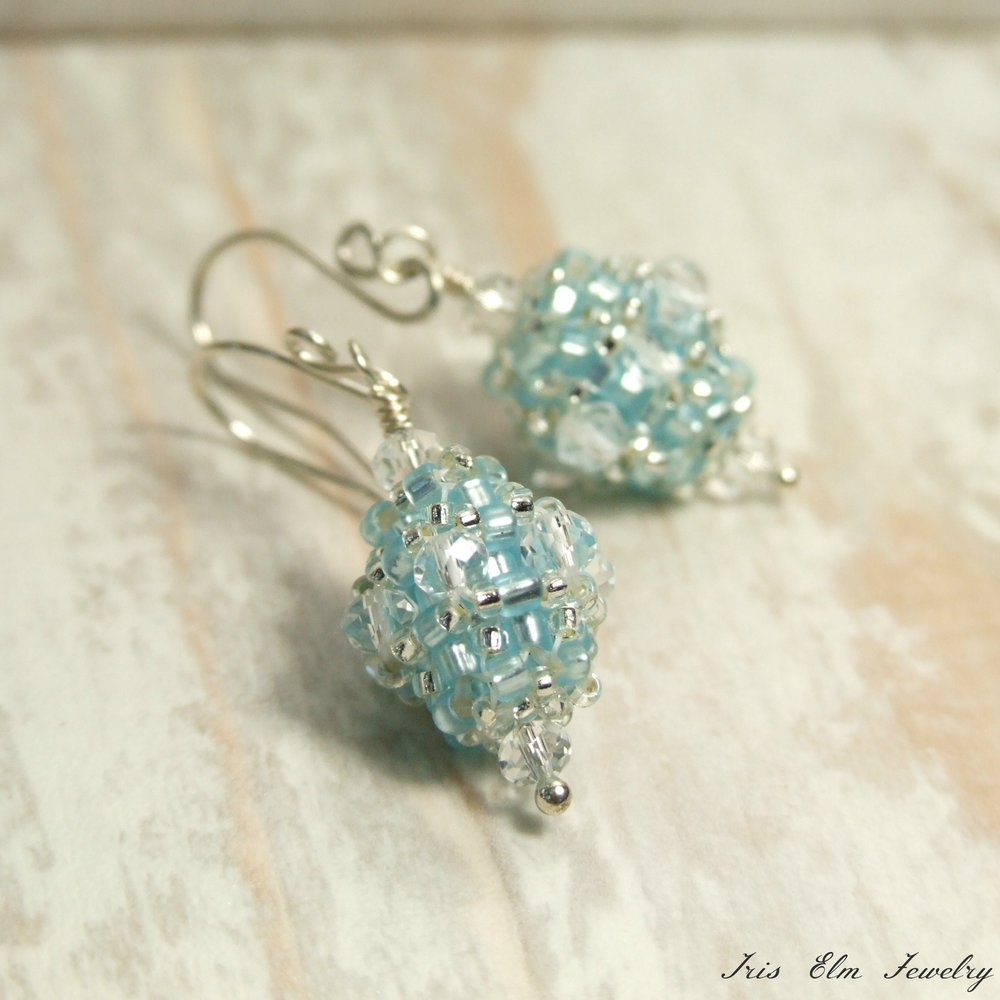 Ice Blue Beaded Bead Vintage Style Glass Earrings