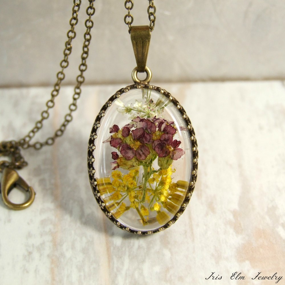 Red, Yellow, & White Yarrow Wildflower Pendant Necklace