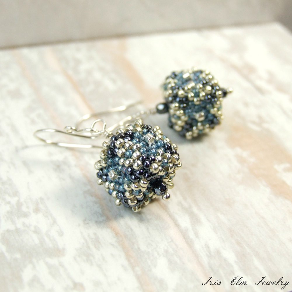 Blue & Silver Beadwoven Glass Cube Drop Earrings